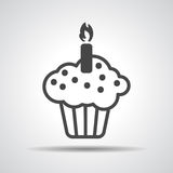 Black flat cake icon Royalty Free Stock Photography