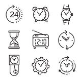 Black flat clocks. Vector black flat clocks icons on white Stock Photo
