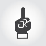Black flat hand icon with finger pointing up. Attention, information, idea, firstly concept. Label for site interfaces, mobile apps, games and other projects Royalty Free Stock Images