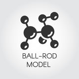Black flat icon of ball-rod molecular model. Vector for scientific, educational concept projects Stock Photos