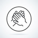 Black flat icon gesture hand of a human applause, bravo Stock Images