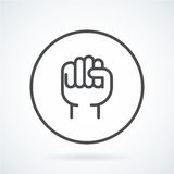 Black flat icon gesture hand human fist to the top. Black flat simple icon style line art. Outline symbol with stylized image of a gesture hand of a human fist Stock Image