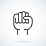 Black flat icon gesture hand human fist to the top. Black flat simple icon style line art. Outline symbol with stylized image of a gesture hand of a human fist Royalty Free Stock Image