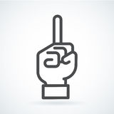 Black flat icon gesture hand of human forefinger in up. Black flat simple icon style line art. Outline symbol with stylized image of a gesture hand of a human Royalty Free Stock Photography