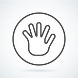 Black flat icon gesture hand of a human greeting palm. Black flat simple icon style line art. Outline symbol with stylized image of a gesture hand of a human Royalty Free Stock Image