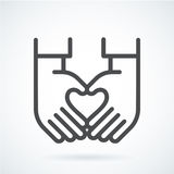 Black flat icon gesture hand of a human heart. Black flat simple icon style line art. Outline symbol with stylized image of a gesture hand of a human heart Stock Photo
