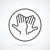 Black flat icon gesture hand of human high five, greeting vector illustration