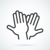 Black flat icon gesture hand of human high five, greeting Royalty Free Stock Images