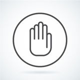 Black flat icon gesture hand of a human stop, palm. Black flat simple icon style line art. Outline symbol with stylized image of a gesture hand of a human stop Stock Photos