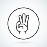 Black flat icon gesture hand of a human three fingers Royalty Free Stock Photo