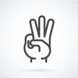 Black flat icon gesture hand of a human three fingers Royalty Free Stock Images