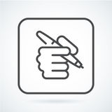 Black flat icon hand of a human with a pen Royalty Free Stock Photo