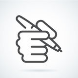 Black flat icon hand of a human with a pen. Black flat simple icon style line art. Outline symbol with stylized image of a hand of a human with a pen, as a Royalty Free Stock Photos