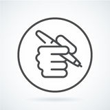 Black flat icon hand of a human with a pen Royalty Free Stock Image