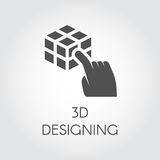 Black flat icon of hand touching cube 3D design concept. Label of device virtual modeling. Digital simulation technology Stock Photo