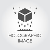 Black flat icon holographic image concept. Symbol of virtual modeling and simulation. Futuristic technology. Vector Stock Photo