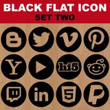 Black Flat Icon Set Two Vector Image Stock Images