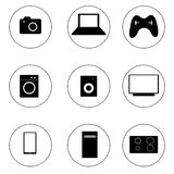 Black flat icons of home appliances. Raster. Stock Image