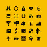 Black flat icons set. Business object, office tools. Royalty Free Stock Photos