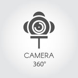 Black flat line icon of camera 360 degree. Concept of virtual panorama view. Label drawn in flat design on a gray background. Vector illustration. Logo for Stock Photo