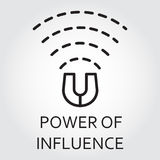 Black flat line vector icon power of influence as magnet Stock Image