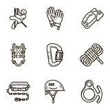 Black flat line vector icon set with a picture of Equipment for Royalty Free Stock Photos