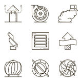 Black flat line vector icon set with a picture of ventilation eq. Uipment on white background Royalty Free Stock Images