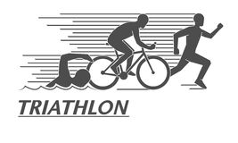 Black flat logo triathlon. Vector figures triathletes. Stock Photo