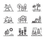 Black flat nature. Vector black flat nature icons on white Stock Photo