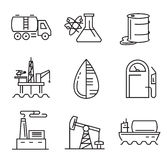 Black flat oil. Vector black flat oil icons on white Royalty Free Stock Photography