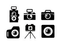 Black flat photo camera icon Stock Photos