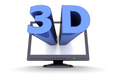Black Flat Screen Monitor - Blue Word 3D. Glossy blue word 3D comes out of a black flat screen monitor to illustrate the three dimensions Stock Images
