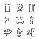 Black flat sewing and needlework. Vector black flat sewing and needlework icons on white Royalty Free Stock Photos