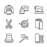 Black flat sewing and needlework. Vector black flat sewing and needlework icons on white Stock Photography