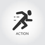 Black flat vector icon action, activity as running man, runner. Label of action or activity as running man, runner. Simple black icon. Logo drawn in flat style Stock Photography
