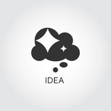 Black flat vector icon idea solution as star and cloud. Label solution, idea. Star and cloud. Simple black icon. Logo drawn in flat style. Black shape pictograph Stock Photography