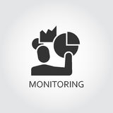 Black flat vector icon monitoring, analysis as men and chart. Royalty Free Stock Photography