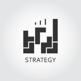 Black flat vector icon strategy or plan solution as game. Label of strategy or plan solution as game. Simple black icon. Logo drawn in flat style. Black shape Royalty Free Stock Photo
