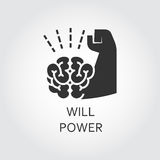 Black flat vector icon willpower as brain and muscle hand Royalty Free Stock Photos
