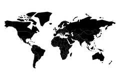 Black flat world map silhouette. Simplified controur. Vector illustration Royalty Free Stock Images