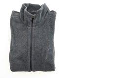 Black fleece jacket. Isolated on white background Stock Photos