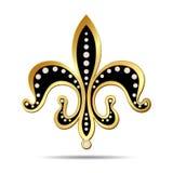 Black fleur-de-lis with a gold rim Royalty Free Stock Image