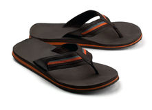 Black flip flops Stock Images
