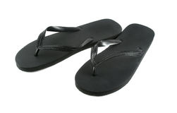 Black Flip Flops. Pair of black rubber flip flops Royalty Free Stock Photo