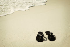 Black flip flops with shells Royalty Free Stock Photos
