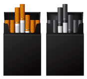 Black flip-top hard cigarette packs without title Stock Photography