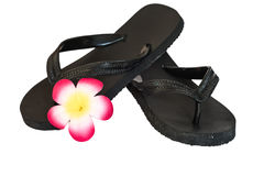 Black flipflop with flower Royalty Free Stock Photos