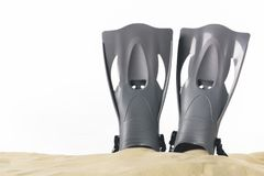 Black flippers in sand isolated. On white stock photos