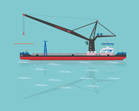 Black floating crane Stock Photos