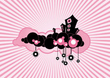 Black floating loudspeakers on pink background. Vector art Royalty Free Stock Images